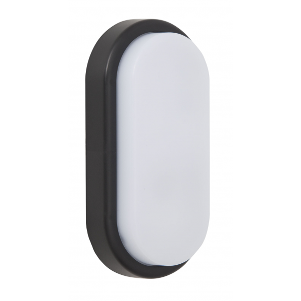 Aplique 12w Surf Exterior Oval Ip65  Negro 9,9x19,9x4,8 6400 960lm