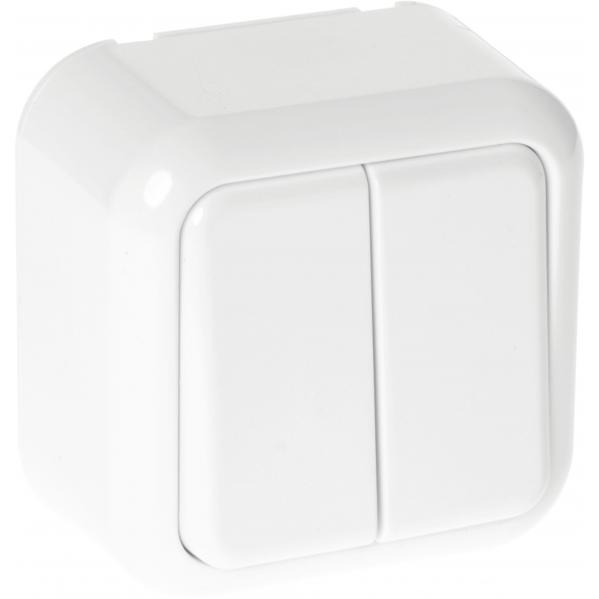 Interruptor Doble Ancient 2 Teclas Blanco 6x6x4