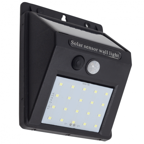 Aplique Solar 3w 6500k  Negro Sensor Movimiento3m Alcance 120 grados 11,5x8,5x4,5 Ip65