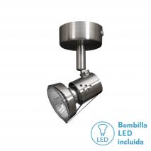 Foco De 1l. Gu10 50w (8x6x12) Niquel Bomb. LED incl.