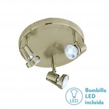 Plafon Foco De 3l. Gu10 50w (13x27x27) Cuero Bomb. LED incl.