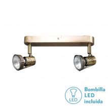 Regleta Foco De 2l. Gu10 50w (9x28x13) Cuero BOMB. LED INCL.