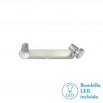 Regleta Foco De 2l. Gu10 50w (9x28x13) Niquel BOMB. LED INCL.