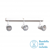 Regleta Foco De 3l. Gu10 50w (8x38x13) Blanco BOMB. LED INCL.