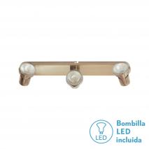 Regleta Foco De 3l. Gu10 50w (8x38x13) Cuero BOMB. LED INCL.