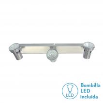 Regleta Foco De 3l. Gu10 50w (8x38x13) Niquel BOMB. LED INCL.