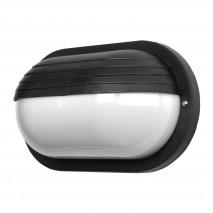 Aplique Ext.oval Canopus Grande1xe27 Policarb.negro Ip44 26x15x10 Cm