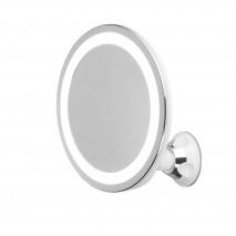 Espejo De Baño 24 Leds Diam.20cm Giro 360º Ventosa Aumento 5x Ajuste Luz Impermeable Ipx4