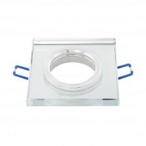 Empotrable Cristal Solna 1xgu10 Cuadrad Grosor 1cm Transparente C/portalampara 1x9x9 Cm