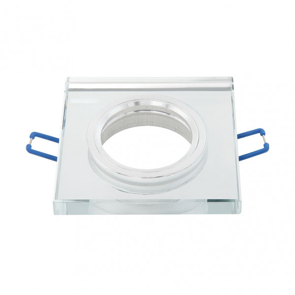 Empotrable Cristal Solna 1xgu10 Cuadrad Grosor 1cm Transparente C/portalampara 1x9x9 Cm Corte 6 Cm