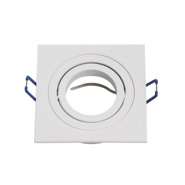 Empotrable Orient.cenote 1xgu10 Cuadrado Blanco 2x9,2x9,2 Cm 8 De Corte. C/portalampara