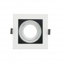 Empotrable Orient.batu 1xgu10 Cuadrado Blanco/negro  0,5x10x10 Cm Corte 9,5 c/portalampara