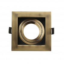 Empotrable Orient.batu 1xgu10 Cuadrado Cuero/negro 0,5x10x10 Cm Corte 9,5 c/portalampara