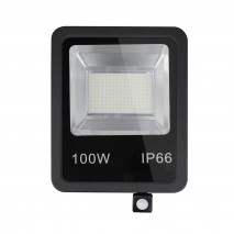 Proyector C/sensor  Olivino 100w 6500k Negro 9000lm Led Sm Ip66 39,5x28,5x7 Cm