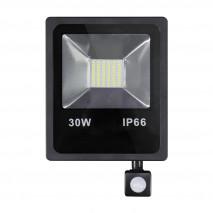 Proyector C/sensor  Olivino 30w 6500k Negro 2700lm  Led Sm Ip66 27,5x19,5x6 Cm