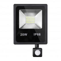 Proyector C/sensor  Olivino 20w 6500k Negro 1800lm  Led Sm Ip66 23,5x15,5x5 Cm