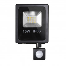 Proyector C/sensor  Olivino 10w 6500k Negro 900lm  Led Sm Ip6619x11,5x5 Cm