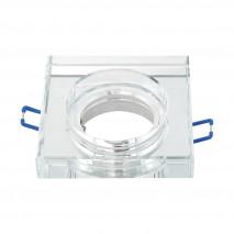 Empotrable Cristal Solna 1xgu10 Cuadrad Grosor 2cm  Transparente C/portalampara 2x9x9 Cm