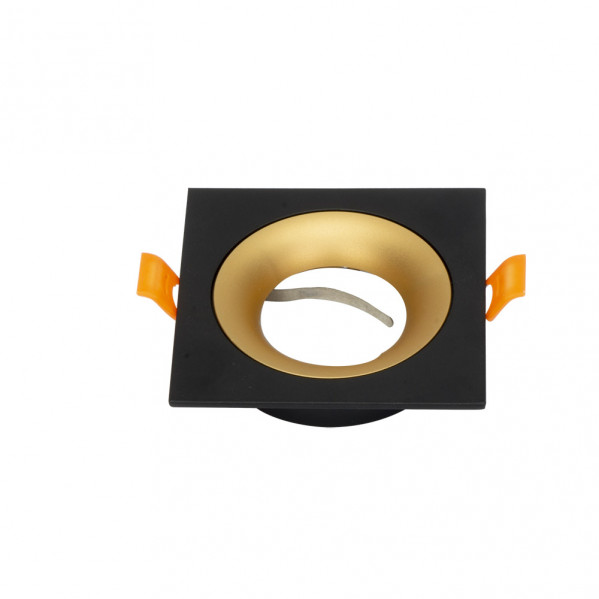 Empotrable Anou 1xgu10 Cuadrado Negro/oro  2x9,2x9,2 Cm 8 De Corte.c/portalampara