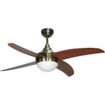 Ventilador Cuero Osiris 4 Aspas Nogal/cerezo 2xe27 116,85d