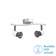 Promo Neto Regleta Serie Sonora Blanco 2xgu10 Bomb. Halog. Incl