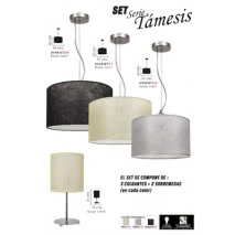 Set Serie Tamesis 3 Colgante + 2 Sobremesa Negro