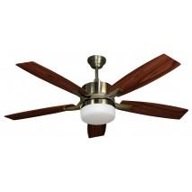 Ventilador Cuero Menfis 5 Aspas Cerezo/nogal 2xe27 132d Control Remoto