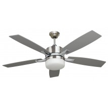 Ventilador Niquel Menfis 5 Aspas Plata/haya 2xe27 132d Control Remoto