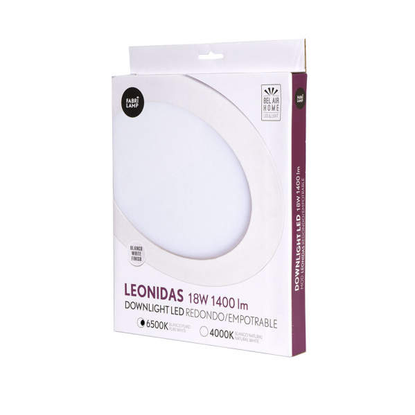 Downlight 18w 6500k Leonidas Blanco 22d 1400lm22x22x1