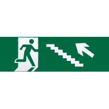 Adhesivo Salida De Emergencia Escalera Izquierda  Subida 6,5x20