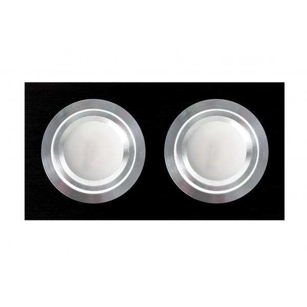 Regleta Foco Empotrar Negro/cromo 2xg10 Incluida 12w 4000k 1200lm 17,5x9x2 Androide