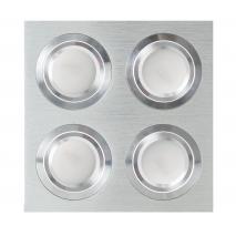 Plafon Foco Empotrar Aluminio/cromo 4xg10 Incluida 24w 4000k 2400lm 17,5x17,5x2 Androide