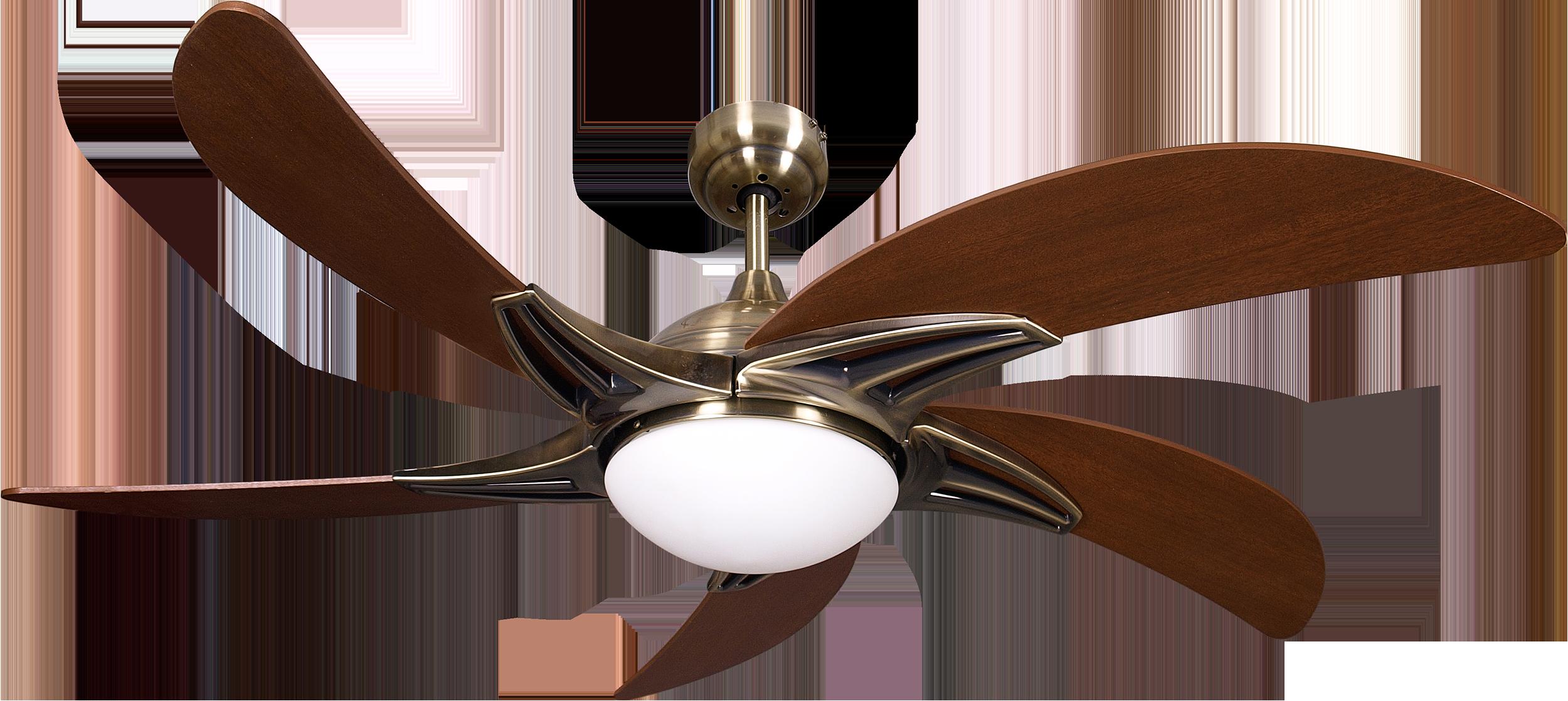 Ventilador cuero cassiopea 5 aspas cerezo 2xe27 130d - Lamparas de ventilador ...